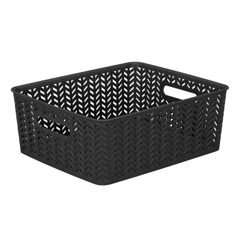 25174-BLACK: KEN  Medium Herringbone Storage Bin in Black