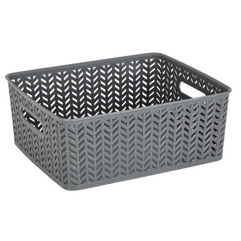 25174-GREY: KEN  MEDHerringbone Storage Bin in Grey