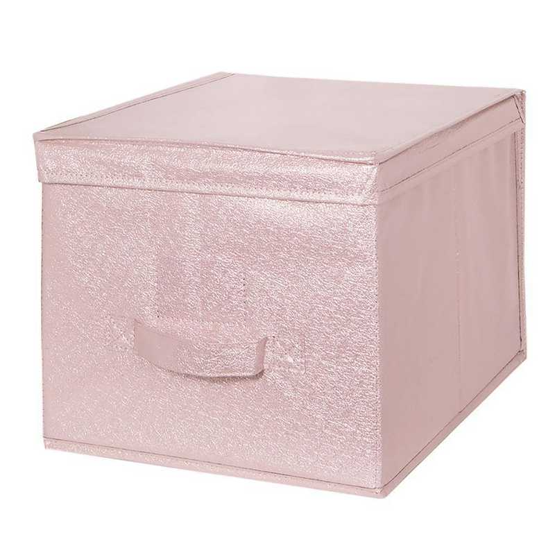25401-BLUSH: KEN  Metallic LRG Storage Box in Blush