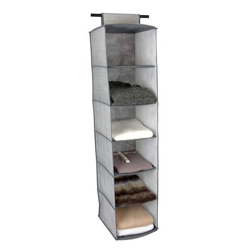 26606-GREY: KEN  6 Shelf Closet Organizer in Grey