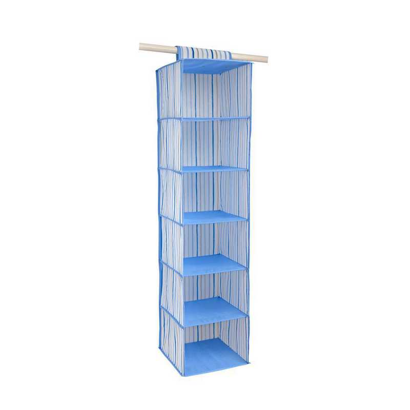 LA-95747: KEN Kids 6 Shelf Hanging Organizer in Painterly Blue Stripe