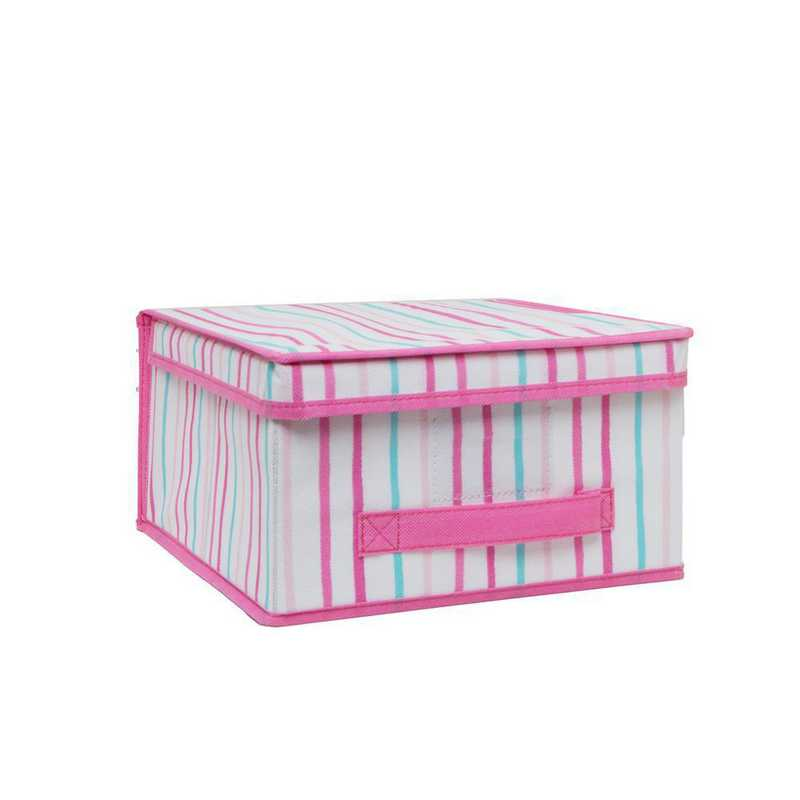 LA-95780: KEN Kids MEDCollapsible Storage Box in Painterly Pink Stripe