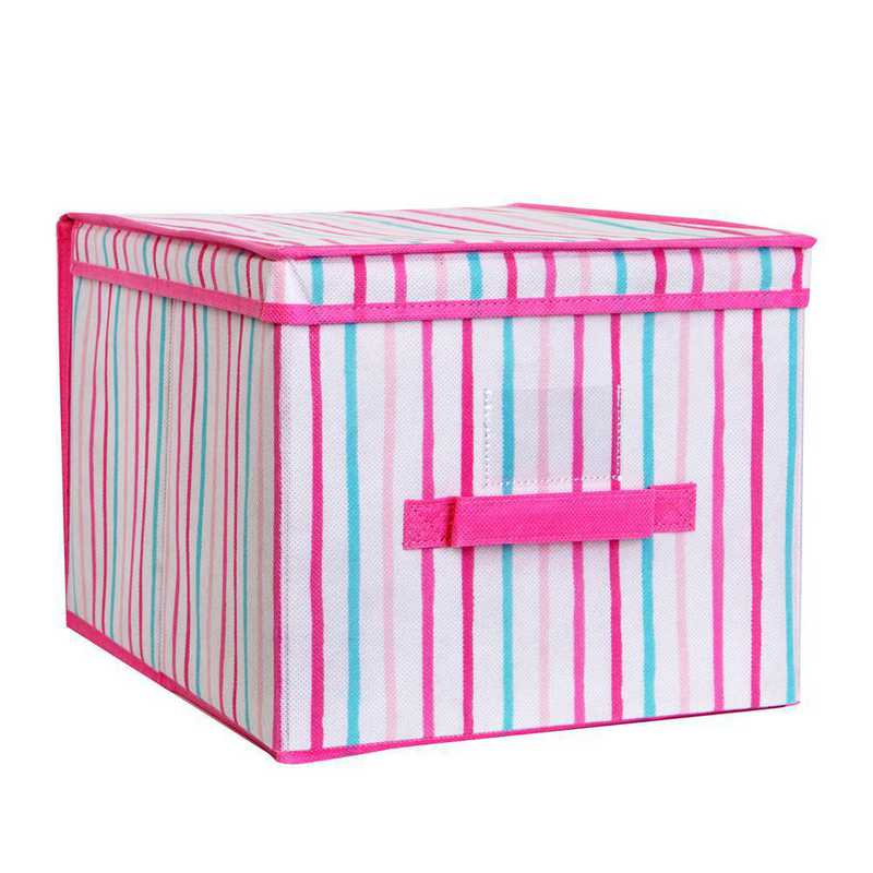 LA-95781: KEN Kids LRG Collapsible Storage Box in Painterly Pnk Stripe