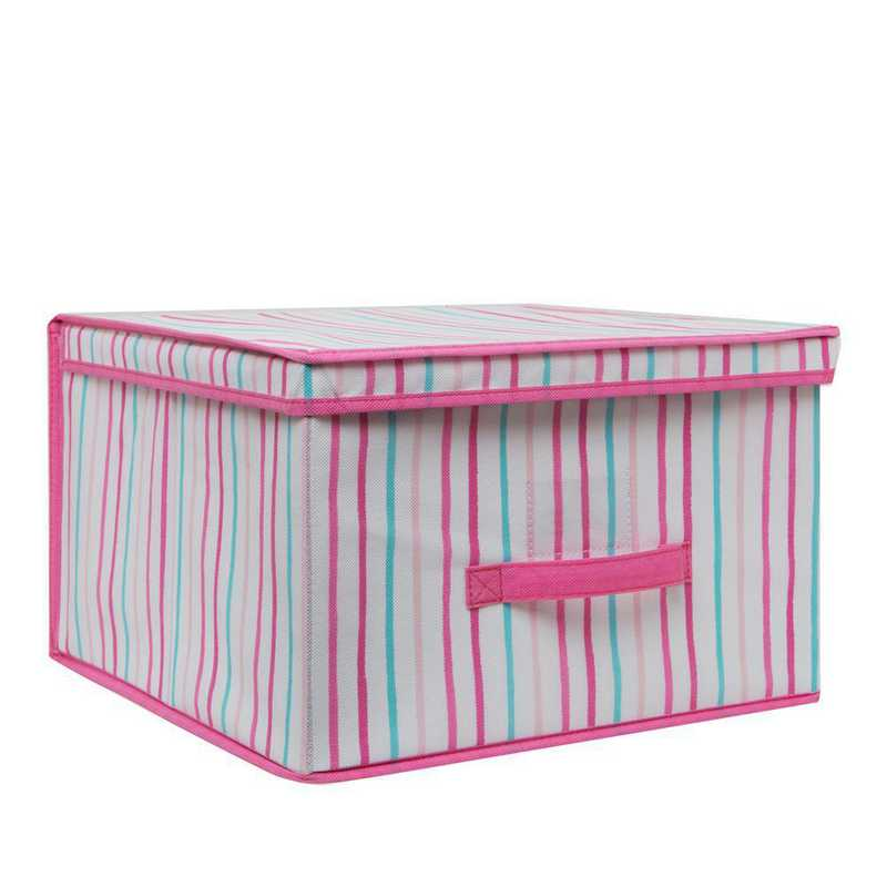LA-95782: KEN Kids Jumbo Collapsible Storage Box Painterly Pnk Stripe