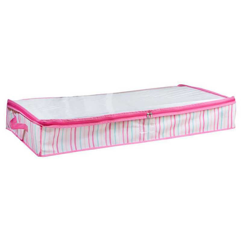 LA-95784: KEN Under the Bed Storage Bag in Painterly Pink Stripe