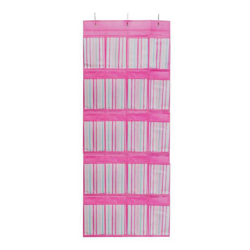 LA-95786: KEN Kids Over The Door 16 Pocket Shoe Organizer in Painterly Pink Stripe
