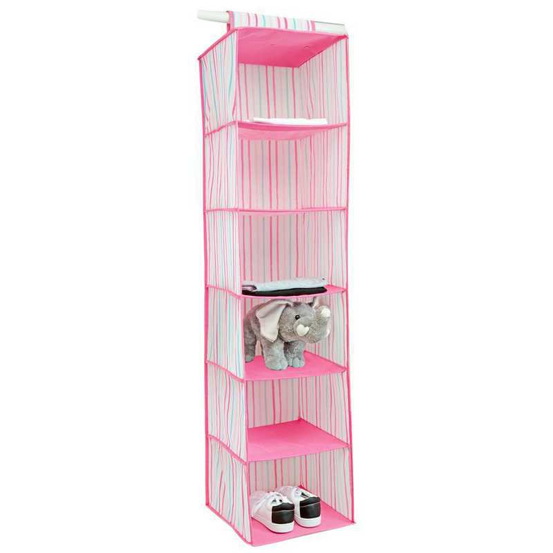 LA-95787: KEN Kids 6 Shelf Hanging Organizer in Painterly Pink Stripe