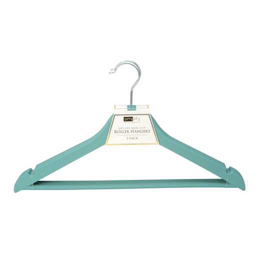 23185-DUSTYBLUE: 3Pk Rubberized Wood-like Roller Hanger