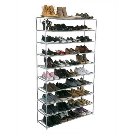 23205-GREY: 50 Pair Extra Long Shoe Rack10TiersGrey