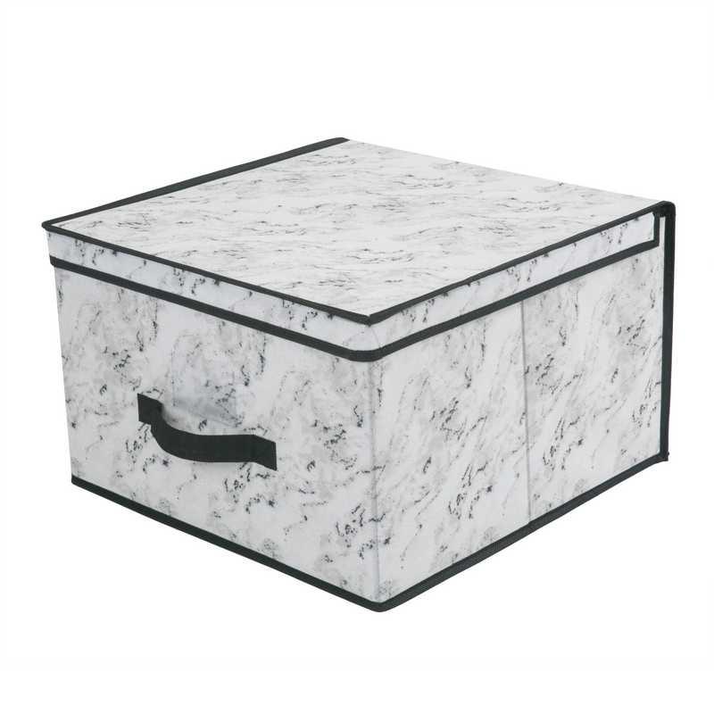 26832-MARBLE:  STORAGE BOX-JUMBO 16X16X10-MARBLE