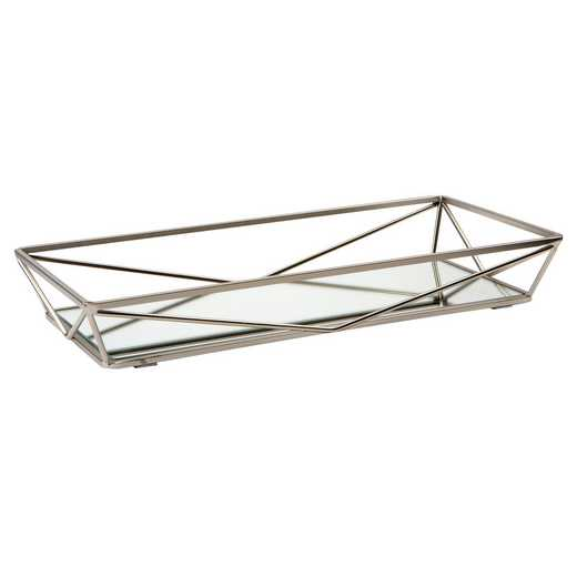 26418-SATIN : KEN  Geometric Mirrored Vanity Tray 14x7-Satin