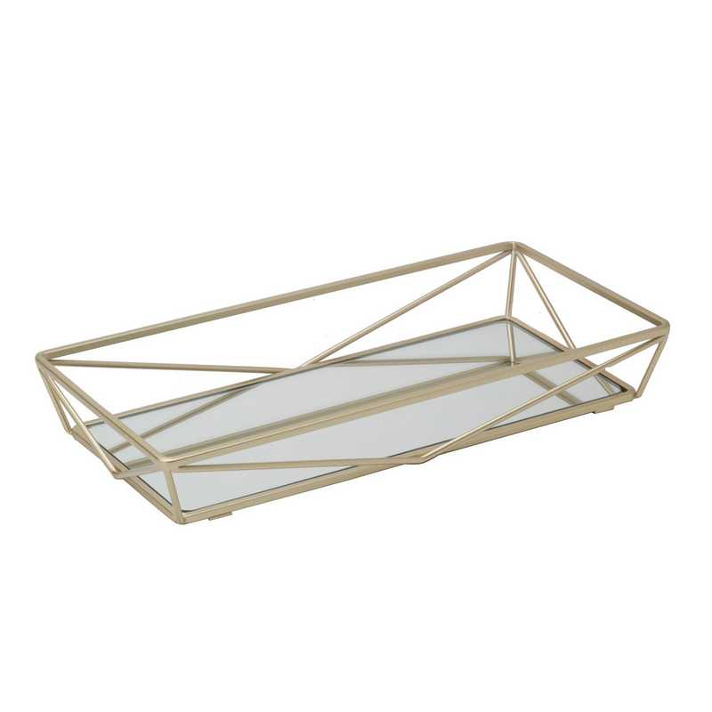 26418-SGOLD : KEN Geometric Mirrored Vanity Tray 14x7-Satin Gold