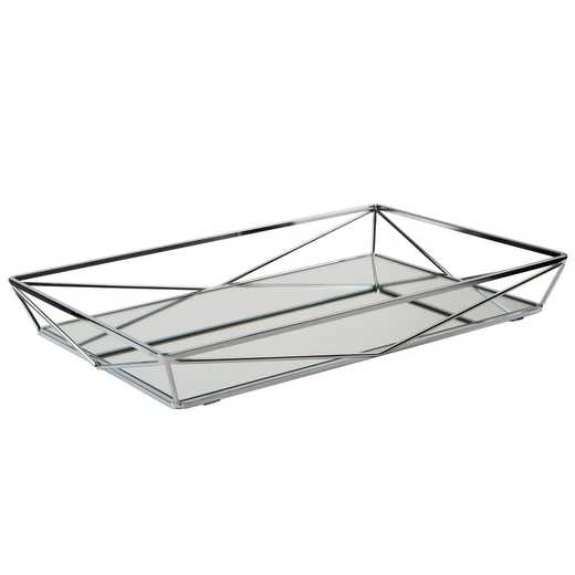 26419-CHR: KEN Large Geometric Mirrored Vanity Tray- Chrome
