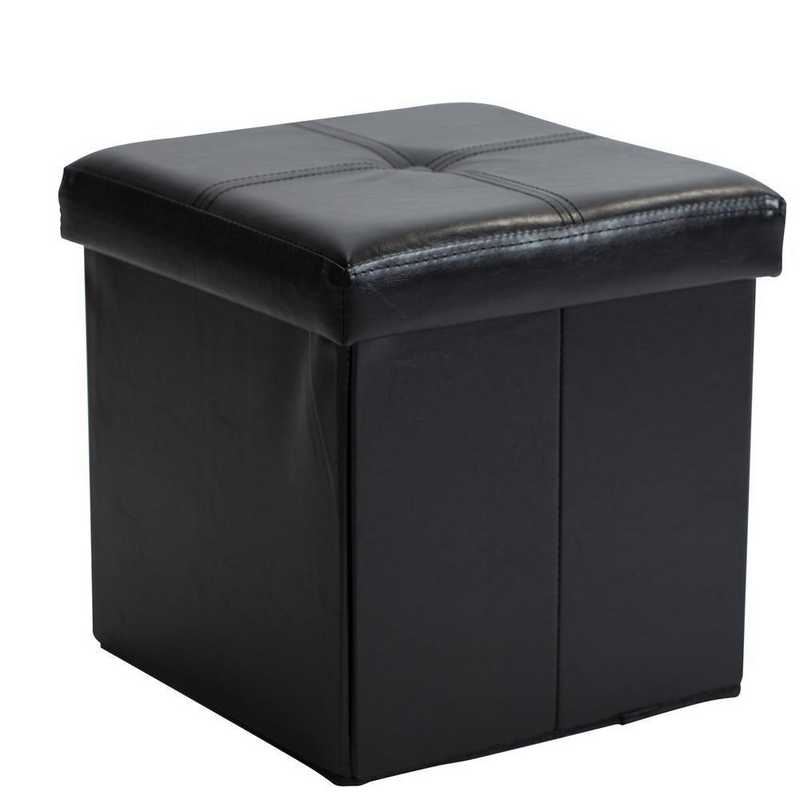 F-0625-BLACK: Faux Leather Storage Ottoman- Blk