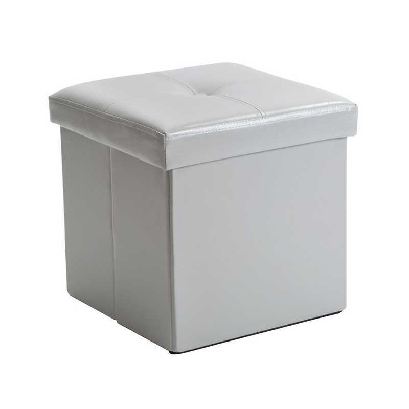 F-0625-GREY: Faux Leather Storage Ottoman- Grey