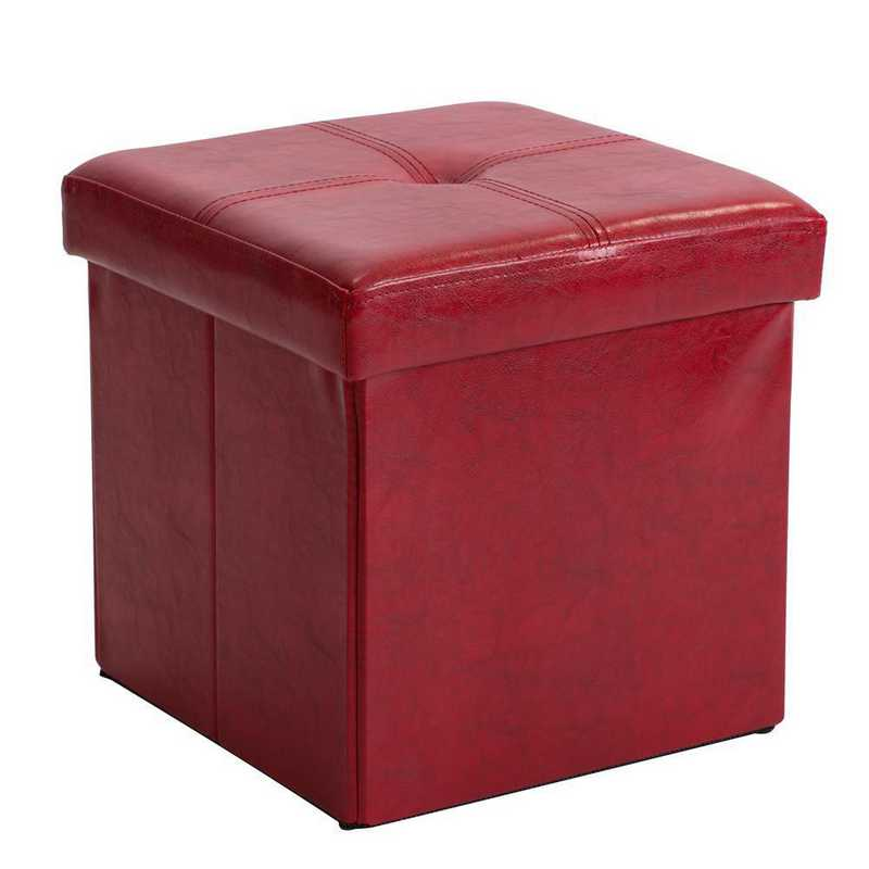 F-0625-RED: Faux Leather Storage Ottoman- Red