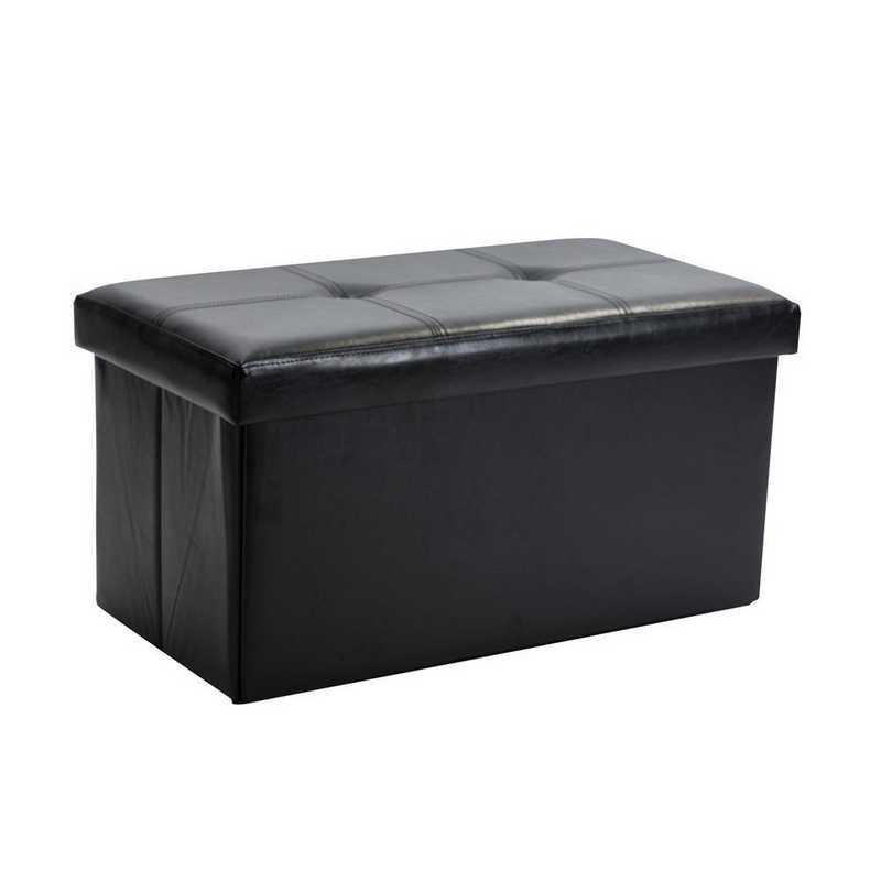 F-0630-BLACK: Faux Leather Double Storage Ottoman-Blk