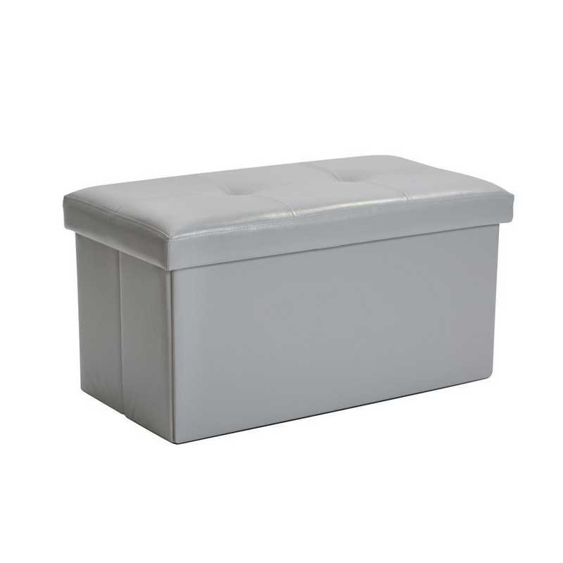 F-0630-GREY: Faux Leather Double Storage Ottoman-Grey