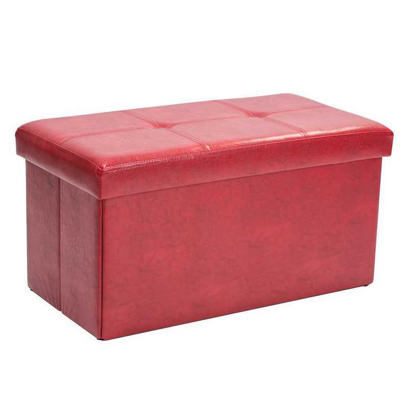 F-0630-RED: Faux Leather Double Storage Ottoman-Red