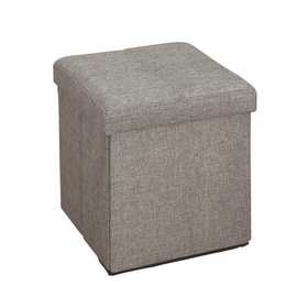 Marvelous Simplify Faux Linen Folding Storage Ottoman Cube In Grey Pabps2019 Chair Design Images Pabps2019Com