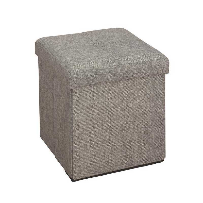 Astonishing Simplify Faux Linen Folding Storage Ottoman Cube In Grey Pabps2019 Chair Design Images Pabps2019Com