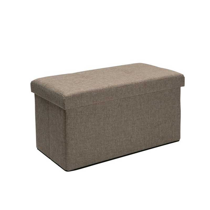 F-0637-NATURAL: Faux Double Linen Storage Ottoman-Natural
