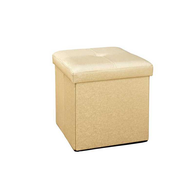 F-0646-MET-GOLD: Faux Leather Folding Storage Ottoman-Metal Gold