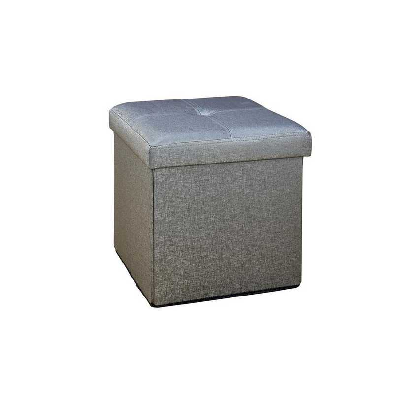 F-0646-MET-PEWTER: Faux Leather Folding Storage Ottoman-Metal Grey