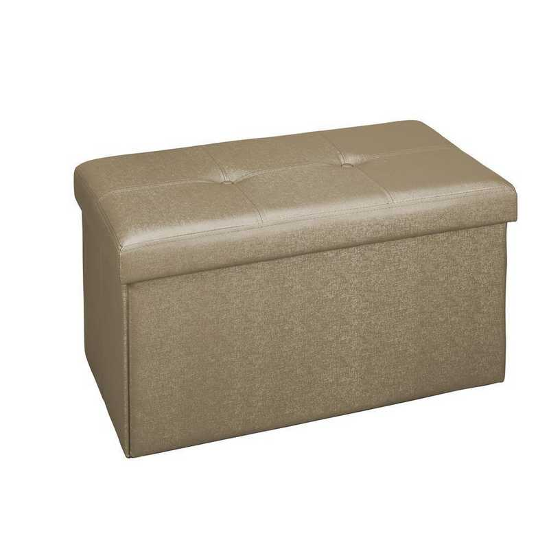 F-0647-MET-BRONZE: Faux Leather Double Folding Ottoman-Brown