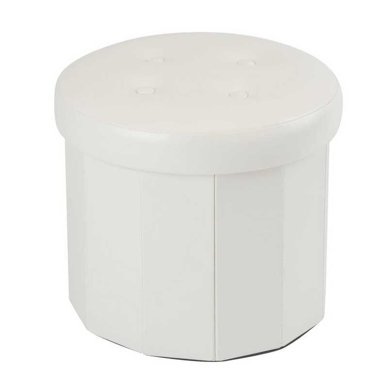 F-0657-IVORY: Rnd Faux Leather Ottoman-Ivory