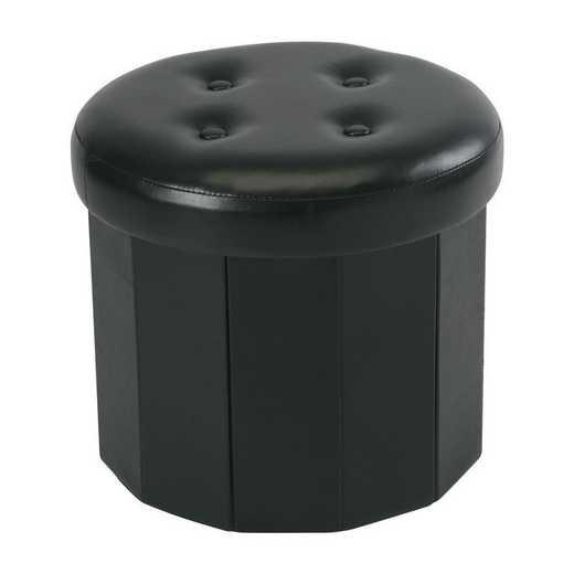 F-0664-BLACK: Rnd 6 Pocket Collapsible Storage Ottoman-Black