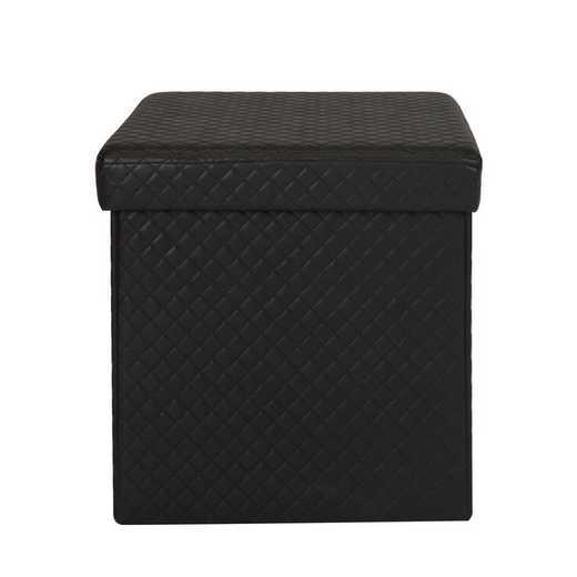 F-0670-BLACK: Simplify Quilted Storage Ottoman-Black