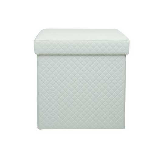 F-0670-WHITE: Simplify Quilted Storage Ottoman-White