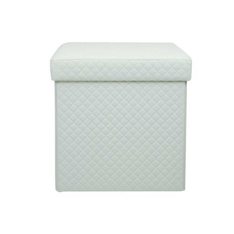 F-0670-WHITE: Simplify Quilted Storage Ottoman-White