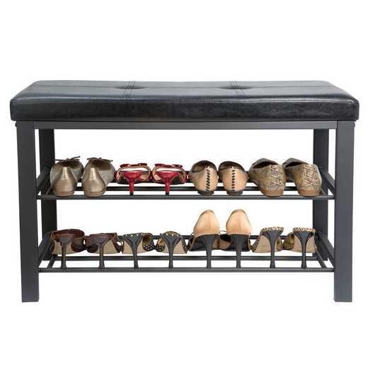 F-0680-BLACK: Entryway Bench with Shoe Storage-Black