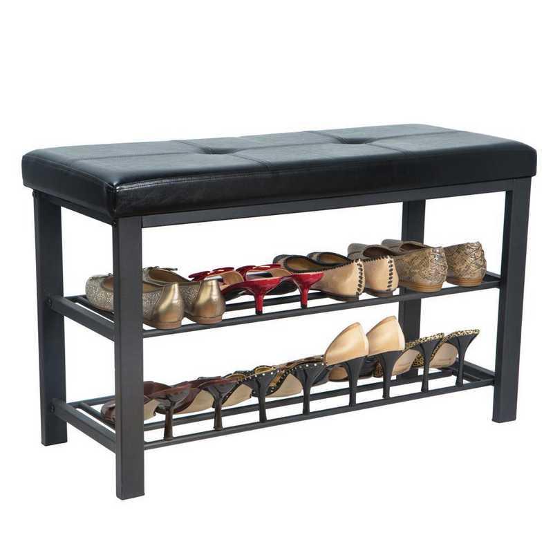 Simplify Entryway Bench With Shoe Storage In Black