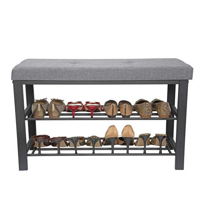 F-0681-GREY: Entryway Bench with Shoe Storage-Grey