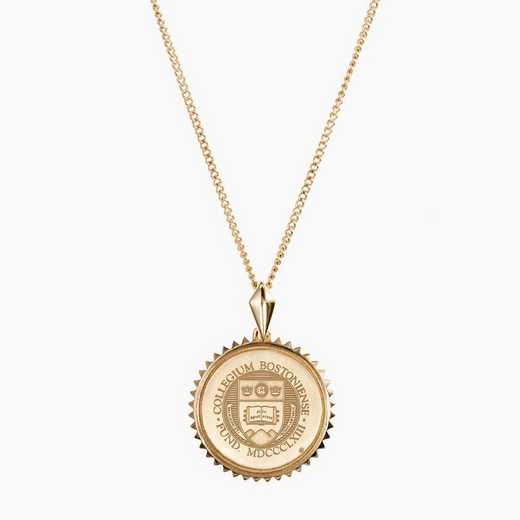 BC0116AU: 14k Yellow Gold BC Sunburst Necklace by KYLE CAVAN