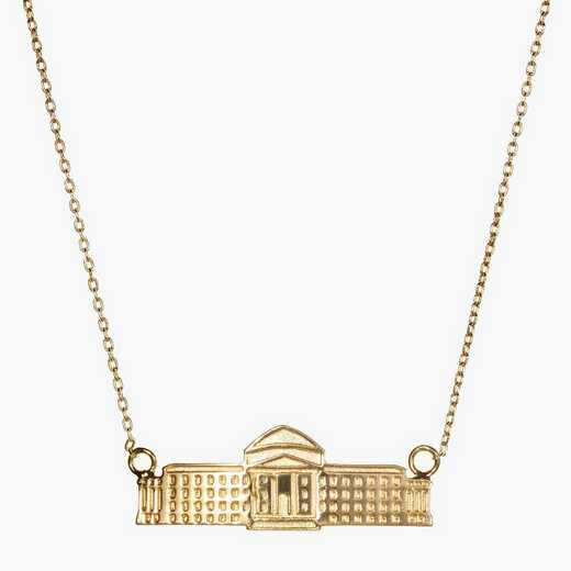 SMU0207AU: 14k Yellow Gold SMU Dallas Hall Necklace by KYLE CAVAN