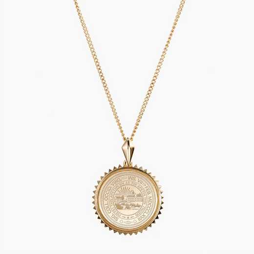 WV0116AU: 14k Yellow Gold West Virginia Sunburst Necklace by KYLE CAVAN