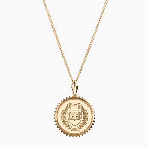 YAL0116AU: 14k Yellow Gold Yale Sunburst Necklace by KYLE CAVAN