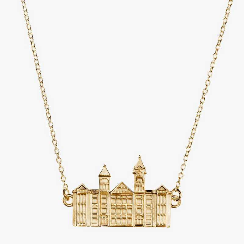 AUB0207: Cavan Gold Auburn Samford Hall Necklace by KYLE CAVAN
