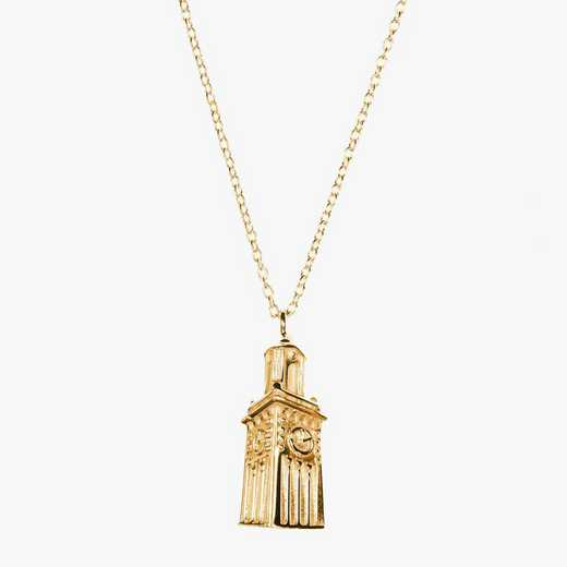 BRO0207AU: 14k Yellow Gold Brown Carrie Tower Necklace by KYLE CAVAN