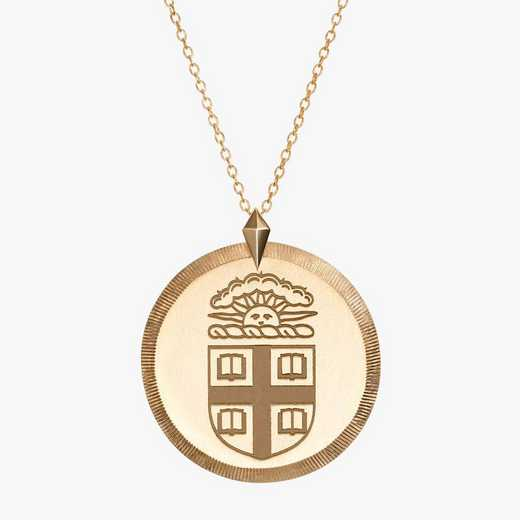 BRO0122AU: 14k Yellow Gold Brown Florentine Necklace by KYLE CAVAN