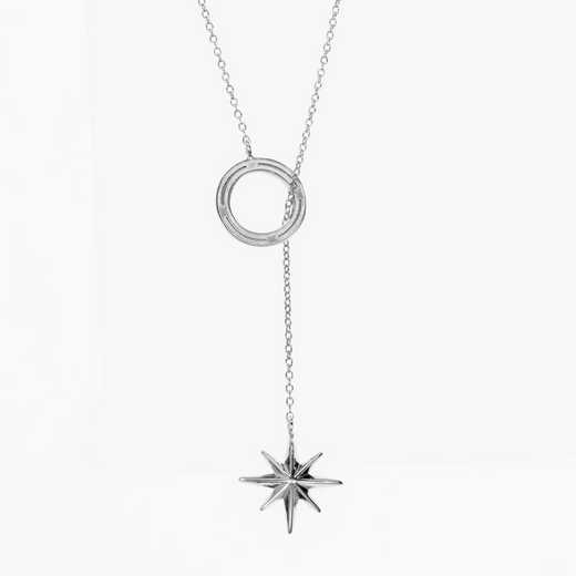 COMP07: Sterling Silver Compass Star Lariat Necklace by KYLE CAVAN