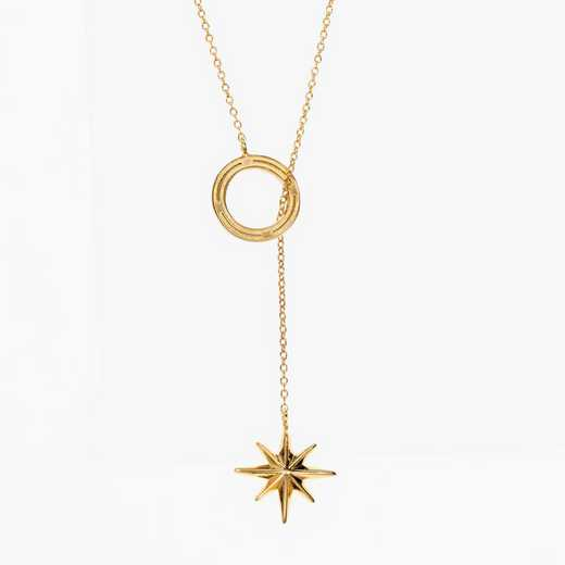 COMP08: Cavan Gold Compass Star Lariat Necklace by KYLE CAVAN