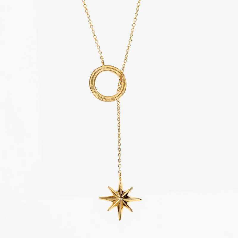COMP08: Cavan Gold Compass Star Lariat Necklace by KYLE CAVAN