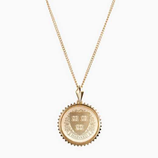 HAR0116AU: 14k Yellow Gold Harvard Sunburst Necklace by KYLE CAVAN