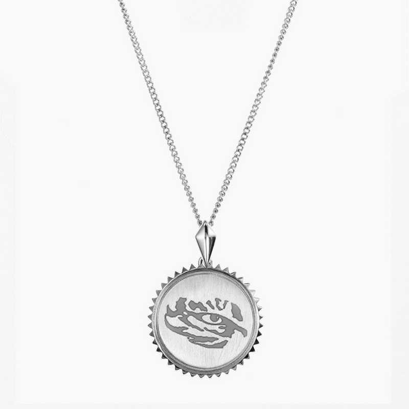 LSU0115TIG: Sterling Silver LSU Sunburst Tiger Ncklc by KYLE CAVAN