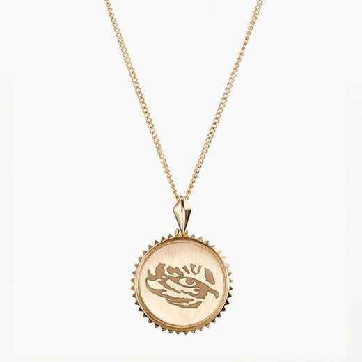 LSU0116TIG: Cavan Gold LSU Sunburst Tiger Necklace by KYLE CAVAN